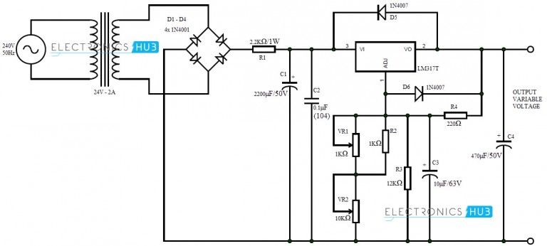 0 28v 6 8a Power Supply Circuit Using Lm317 And 2n3055 Power
