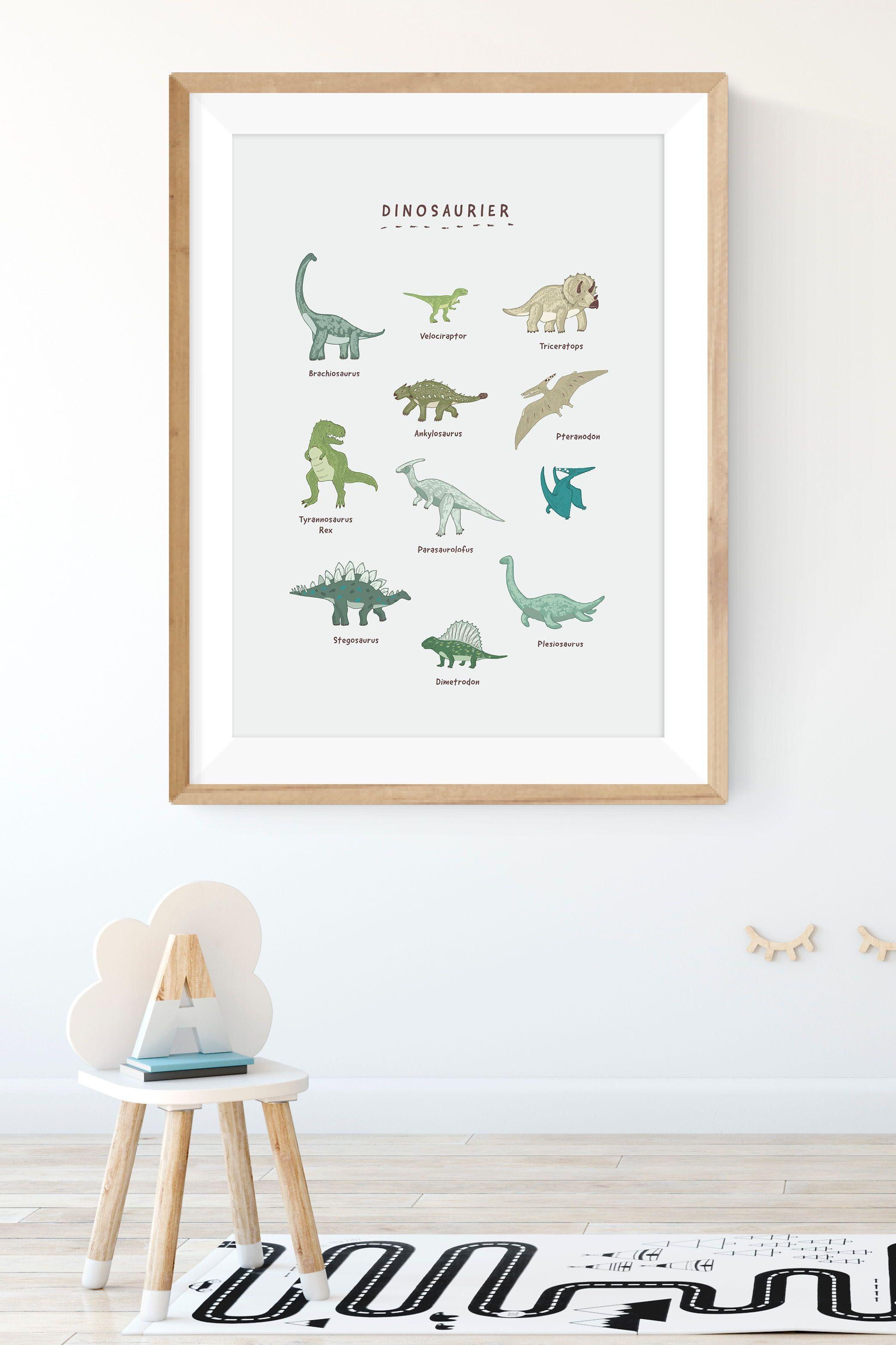 plakat dinosaurier din a2 poster kinderzimmer kinder zimmer design fur silberner hirschkopf deko wanddekoration hirsch