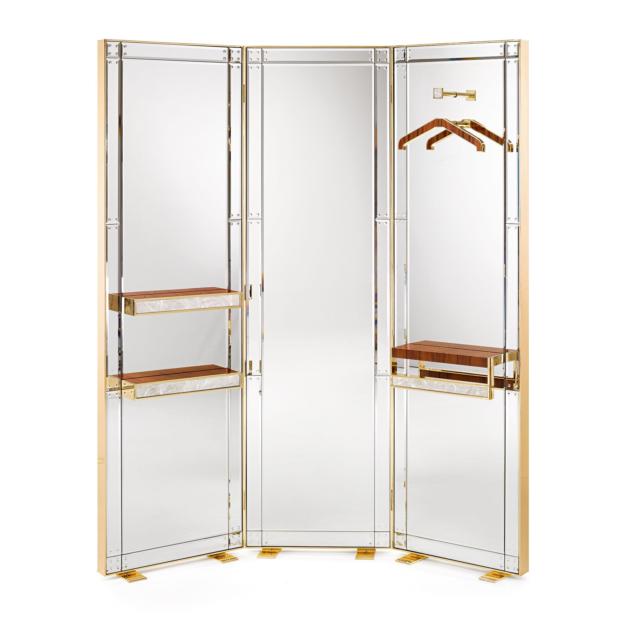 forziere wooden and mirrored screen  contemporary art deco mid  - forziere wooden and mirrored screen  contemporary art deco midcentury  modernfolding screens