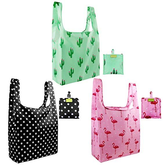3902fa8c6 Foldable Reusable Grocery Bags in lots of cute prints - flamingos ...
