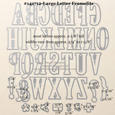 Stampin' Up! Die Sizes Lettering, Large letters, Stampin