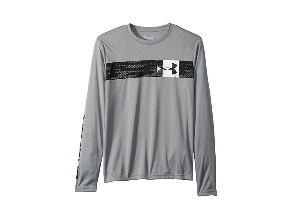 7617726f0 Under Armour Kids UA Pixel Crossbar Long Sleeve Tee (Big Kids) (Steel Light  Heather/White) Boy's T Shirt. Find a way to make it off the bleachers and  onto ...