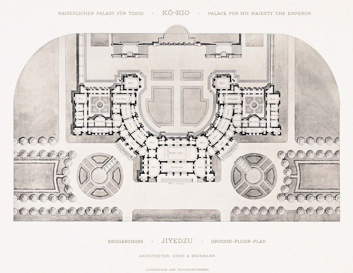 Floor Plan Of A Palace Designed For The Emperor Of Japan By The German Architectural Firm Of Ende And Architecture Site Plan Hotel Floor Plan Historical Design