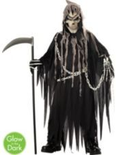 Boys Glowing Mr Grim Reaper Costume Party City Boy Costumes Grim Reaper Costume Scary Halloween Costumes