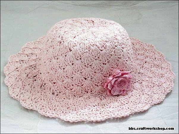 Chapeu de croche rosa doce rosa - CROCHE COM RECEITAS  91a963cc52b