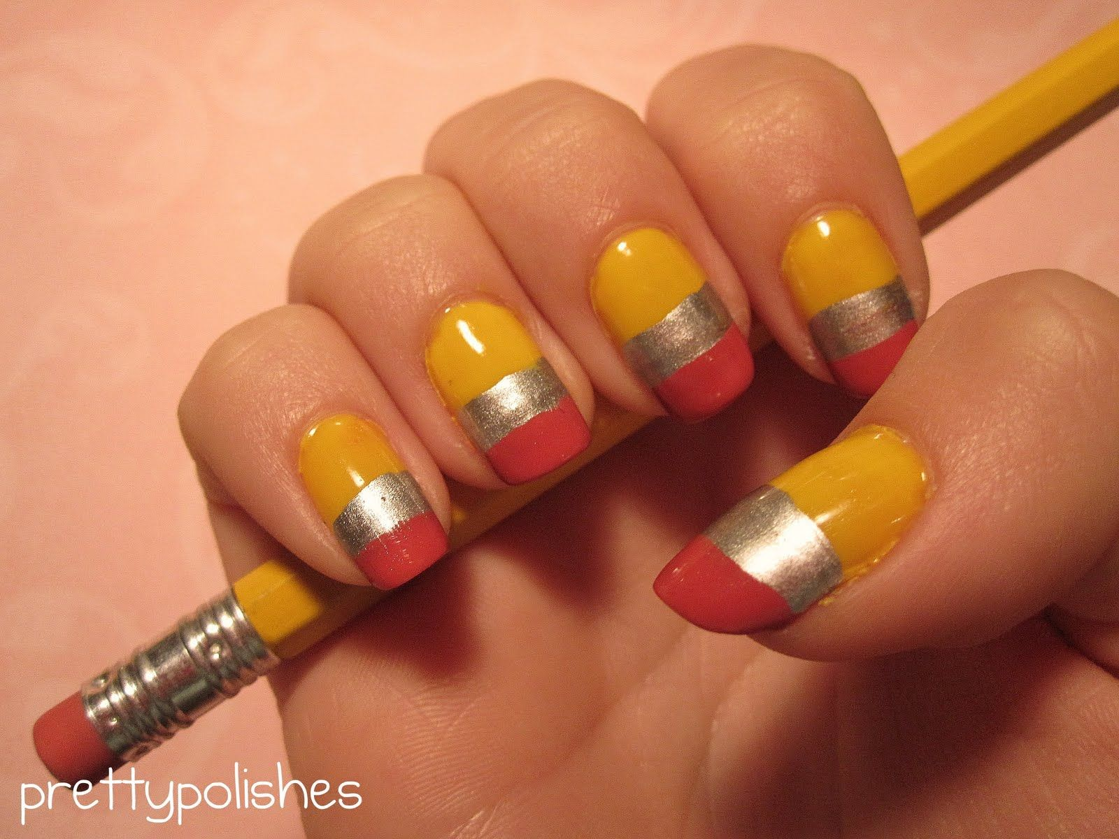 prettypolishes: Back-To-School Pencil Inspired Nail Art | Hair ...