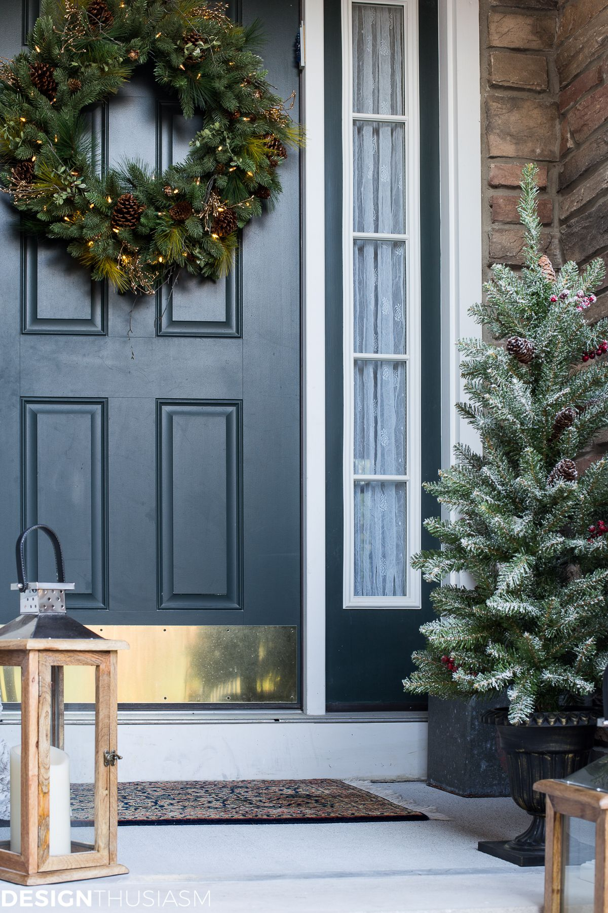 Easy Outdoor Christmas Decorating Ideas For A Tiny Front Porch Christmas Porch Decor Front Porch Christmas Decor Front Porch Decorating