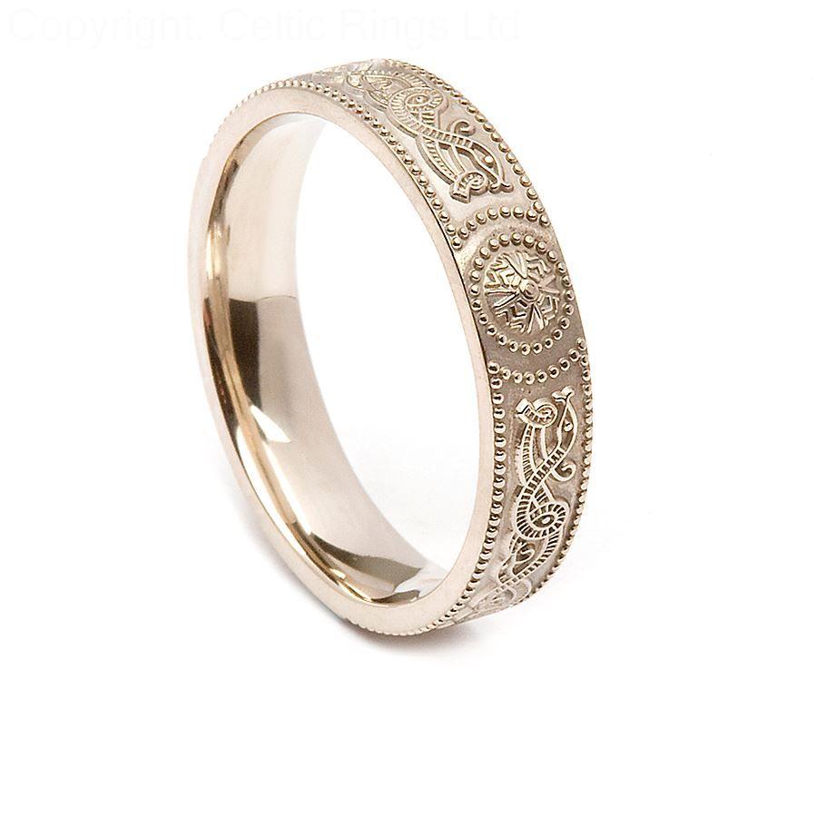 Womens Warrior Irish Wedding Ring White Gold Rings
