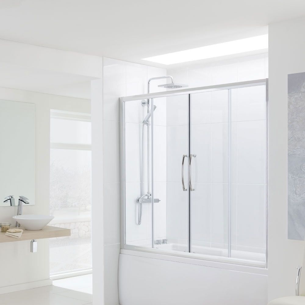 Lakes Classic Over Bath Semi Frameless Double Sliding Door 1500mm