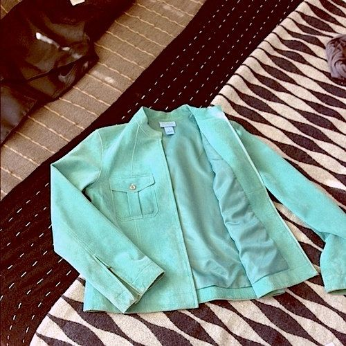 Turquoise Aqua Leather Sueded Jacket  Mint Green by StudioLaTouche, $108.00