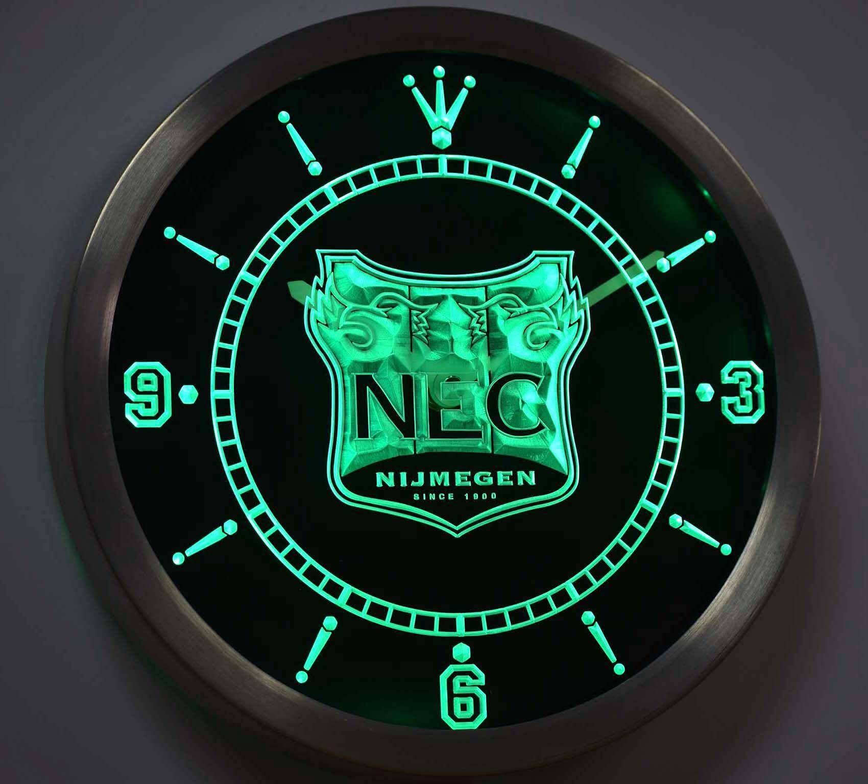 Nc1020 Nec Nijmegen Eredivisie Football Neon Sign Led Wall Clock With Images Led Wall Clock Wall Clock Clock
