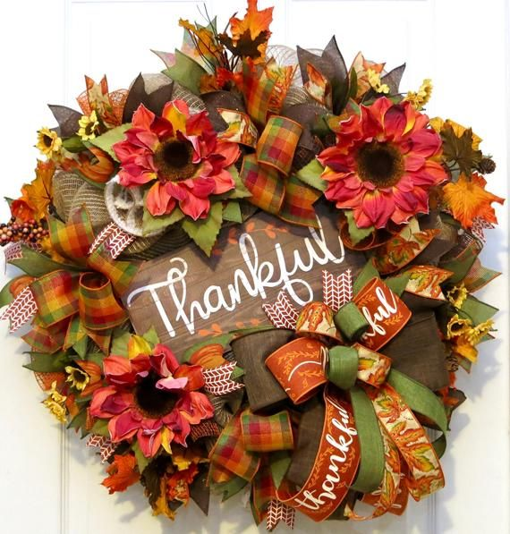 Photo of Fall Wreath, Thankful Wreath, fall wreaths for front door, sunflower wreath, fall front door wreath, Autumn Wreath, Fall Decor, Thanksgiving