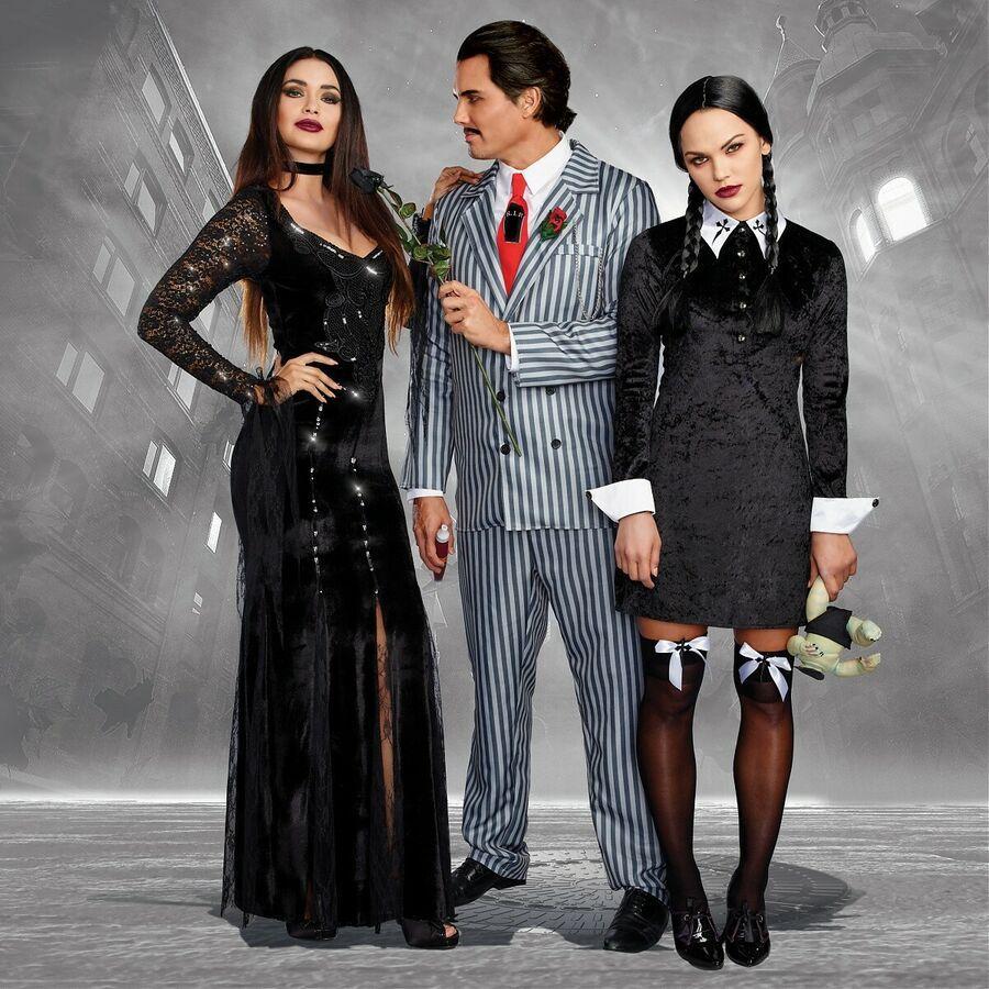 Morticia Costume Adult Creepy Vampire Gothic Halloween Fancy Dress