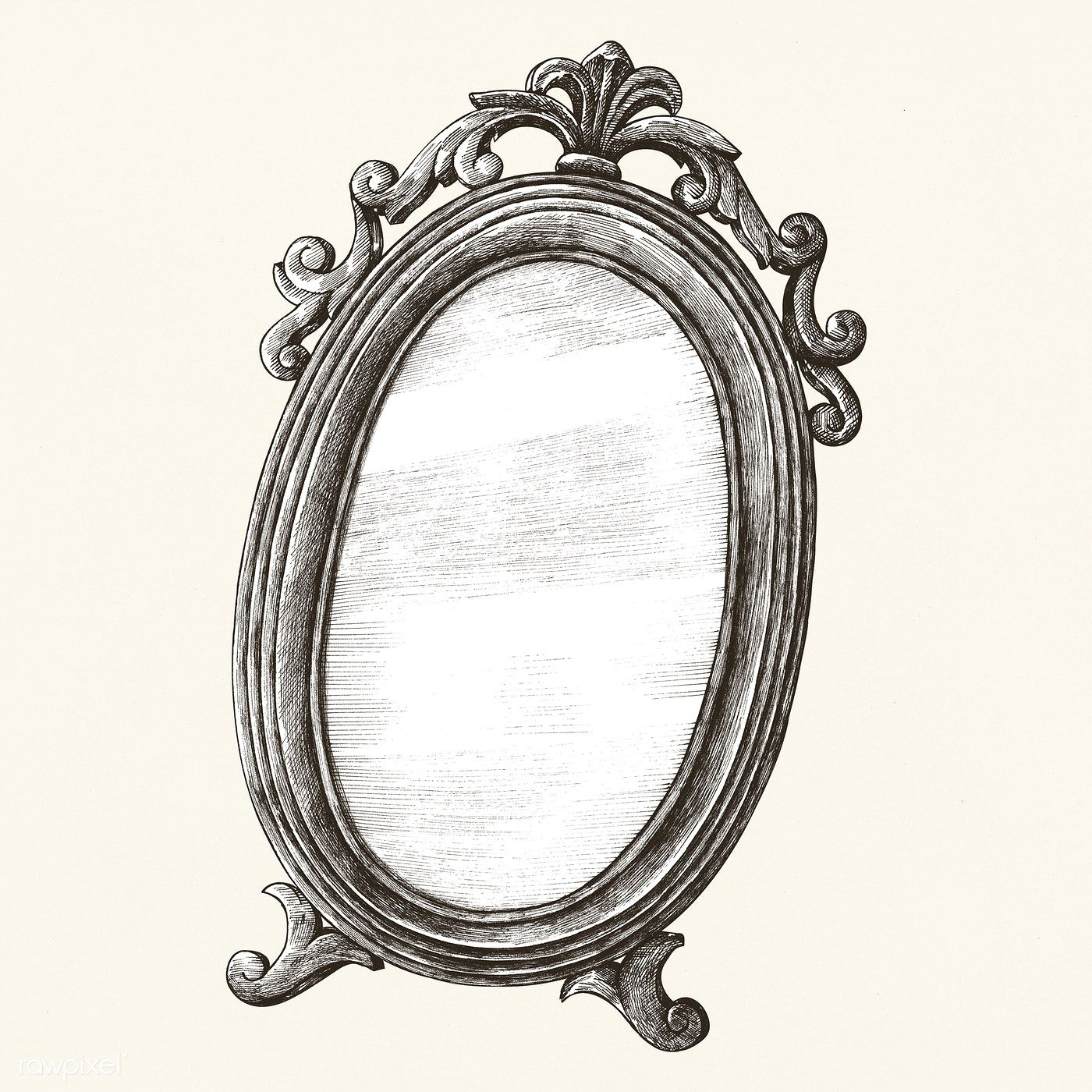 Download Premium Illustration Of Hand Drawn Mirror Isolated On Background How To Draw Hands Mirror Drawings Mirror Illustration