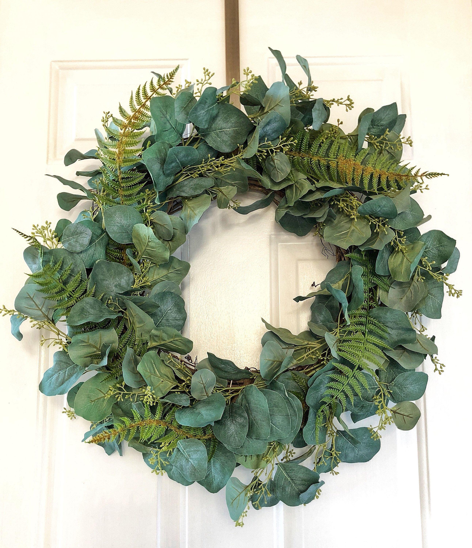 Photo of Eucalyptus wreath ~ front door wreaths for all seasons ~ wreaths ~ peasant wreath ~ coat decor ~ wreaths for the front door ~ eucalyptus wreaths ~ wreath