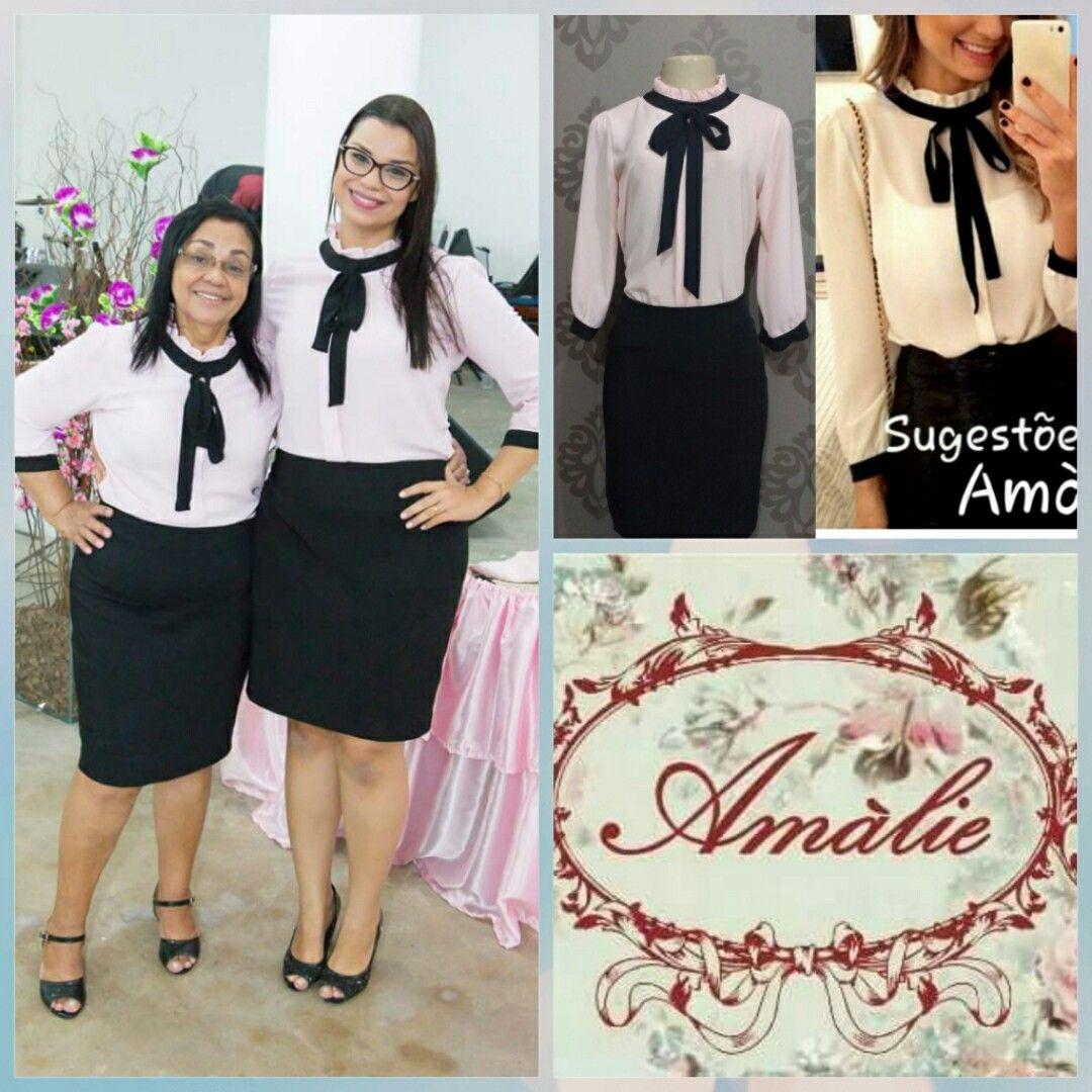 7398d6e949d2 Uniformes ou fardas para congressos evangélicos é com a Amàlie modas 🎀  Blusa de Crepe com laço. Tecidos Crepe rosa bebe e laço preto.