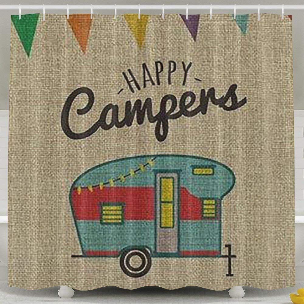Happy Camper Shower Curtain In 2020 Green Shower Curtains Happy Campers Shower Curtain Decor