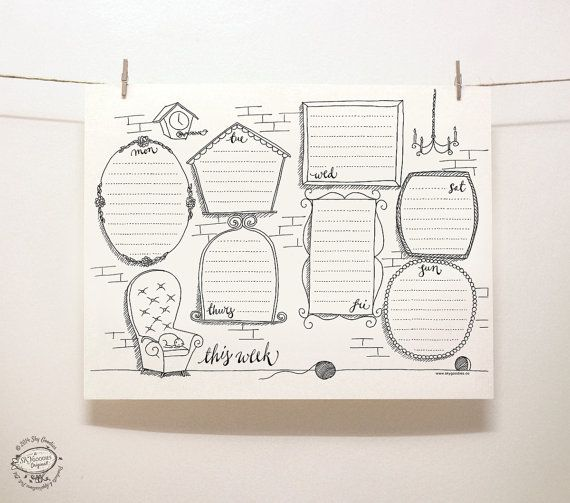 DOODLE Perpetual Weekly Planner Organizer Wall Of