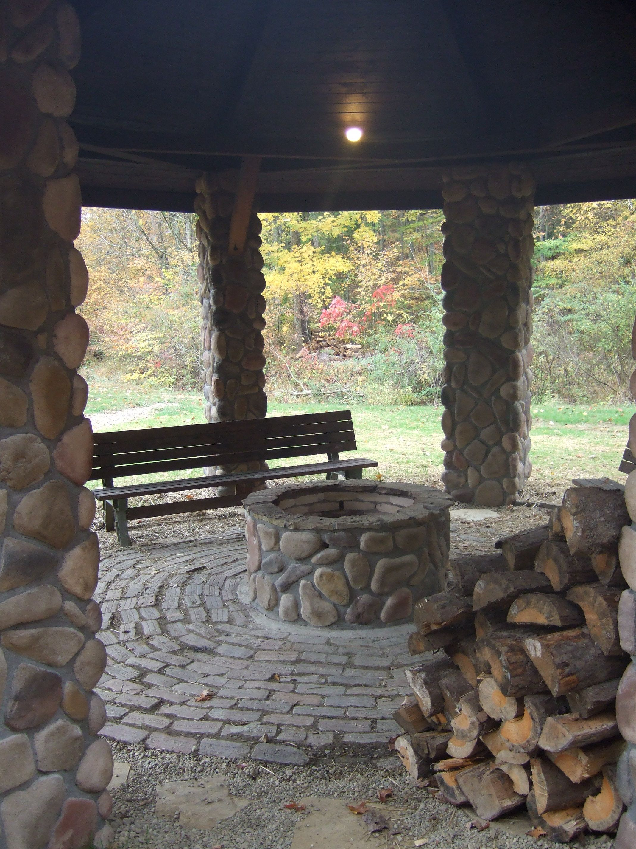Covered Fire Pit Area Enjoy Campfire All Year