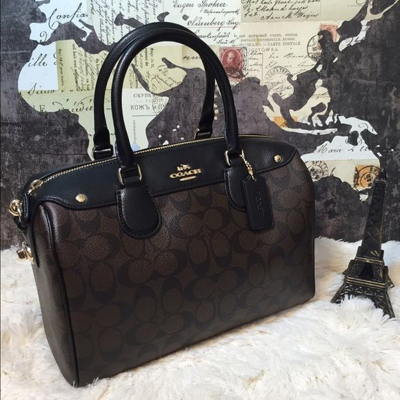 a69830d944402 SALE Coach Large Signature Bennett Satchel Bag New with tags and store  receipt F36187 MSRP  425 Brown signature coated canvas w  black crossgrain  leather ...