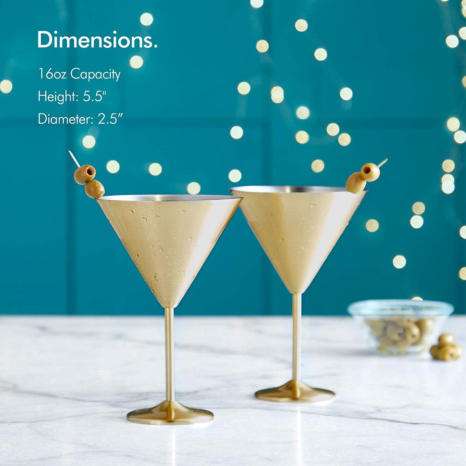 Amazon Com Vonshef 16oz Gold Martini Cocktail Glasses Brushed Gold Stainless Steel Set Of 2 With Gift Box Martini Martini Cocktail Martini Glasses Martini