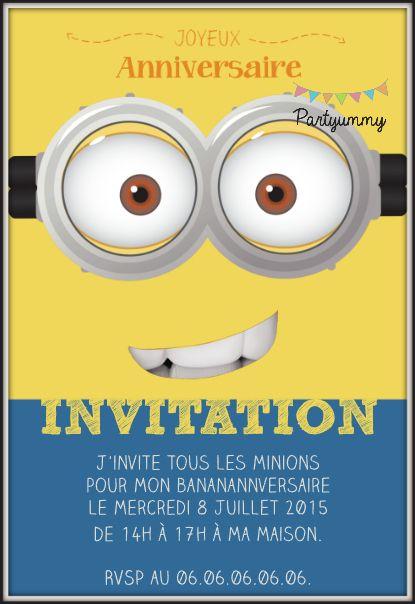 Exceptionnel Invitation minion jaune gratuite à télécharger et personnaliser  HW94