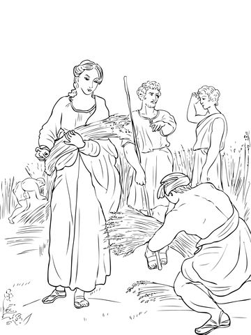 Ruth Working In The Fields Coloring Page Ruth And Naomi