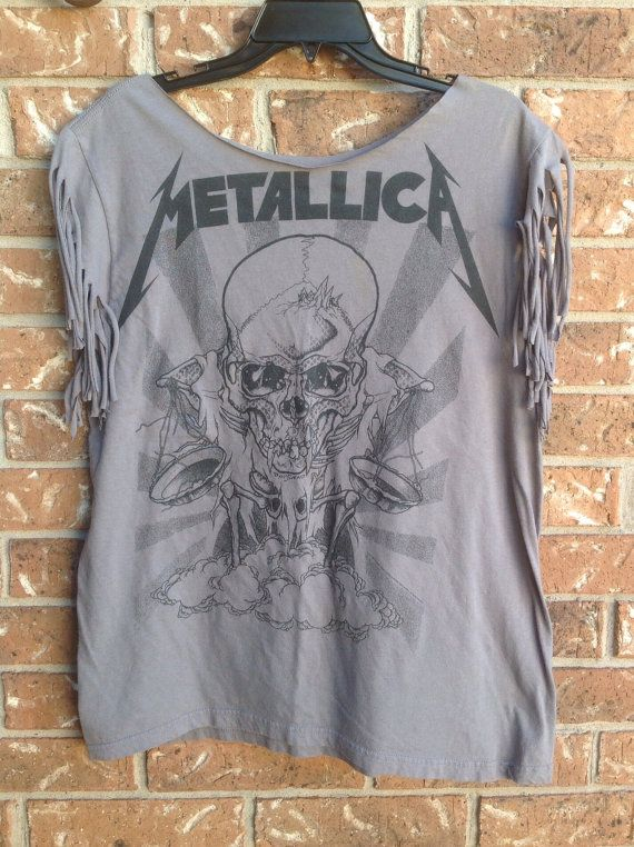 c8d3e6ff Metallica band t shirt cut into a one of a kind band shirt Great off the  shoulder Rocker look Small pin hole on front shown in last pic.
