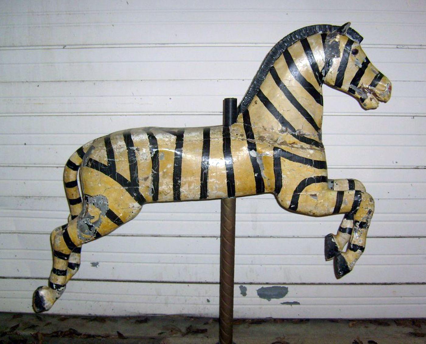 extremely rare carolcil animals | Carousel: Antique Carousel Zebra 1920s Herschell-Spillman