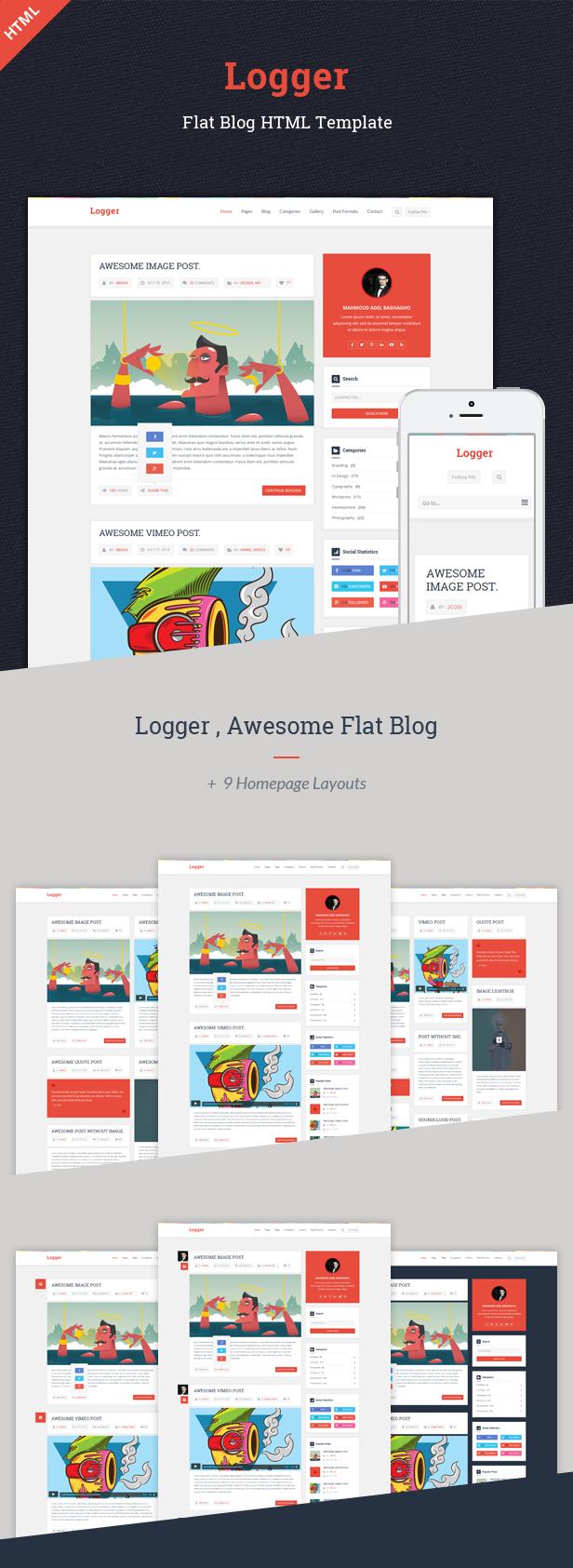 Site Templates - Logger – Flat Blog HTML Template   ThemeForest ...