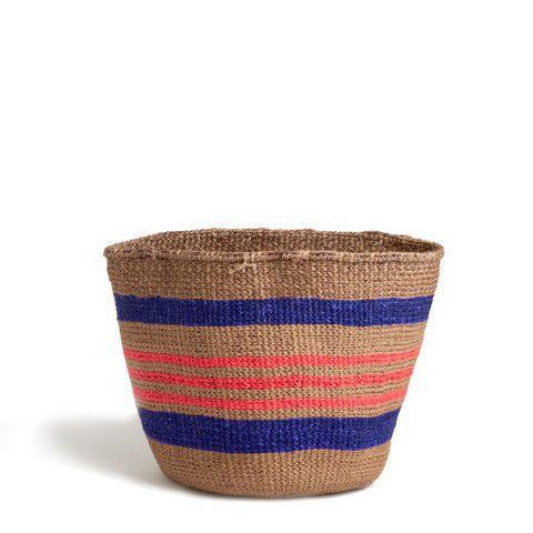 blue and pink striped basket - kenya | Greedilulu