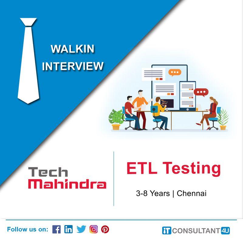 Tech Mahindra Is Hiring Etltesting Softwaretester Itconsultant4u Help Finding A Job Job Search Job Posting