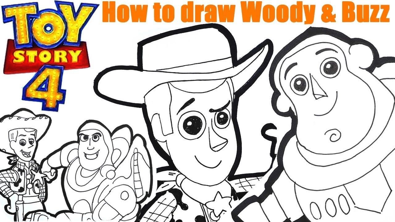 Toy Story 4 How To Draw Woody Buzz Learn How To Read Spell With Drawi Woody And Buzz Easy Drawings Coloring For Kids