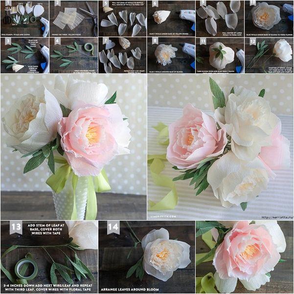 Paper peony pesquisa google de papel pinterest paper how to make beautiful crepe paper peony flower bouquet mightylinksfo Gallery