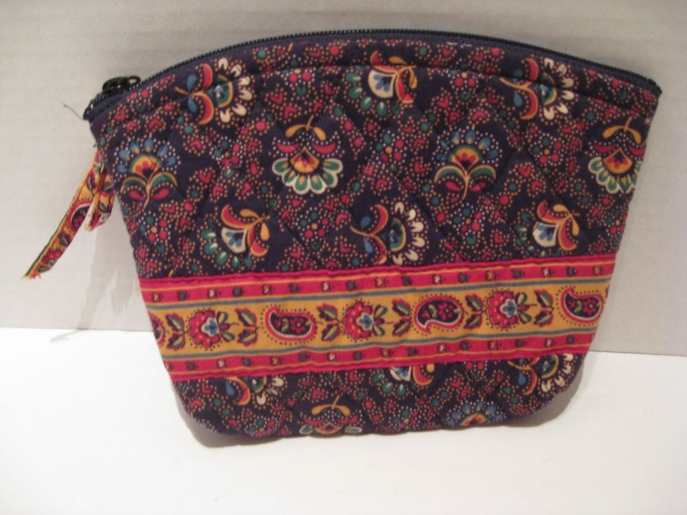 Vera Bradley Red Colette Cosmetic Case Yellow Green Flowers Retired 1997  Designs 30fc36b5bddee