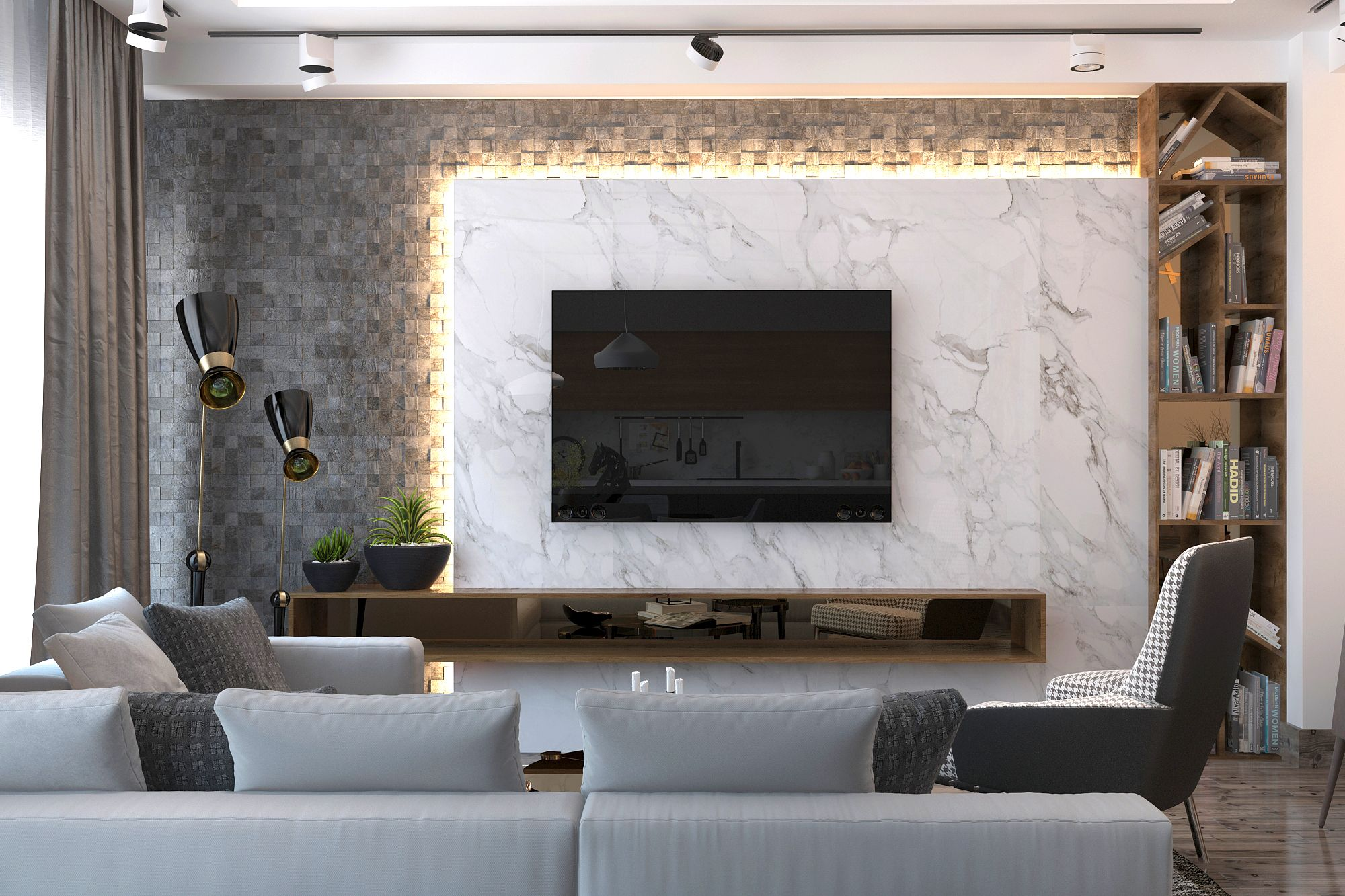 Modern Living Room On Behance Living Room Design Modern Living Room Tv Unit Designs Living Room Modern
