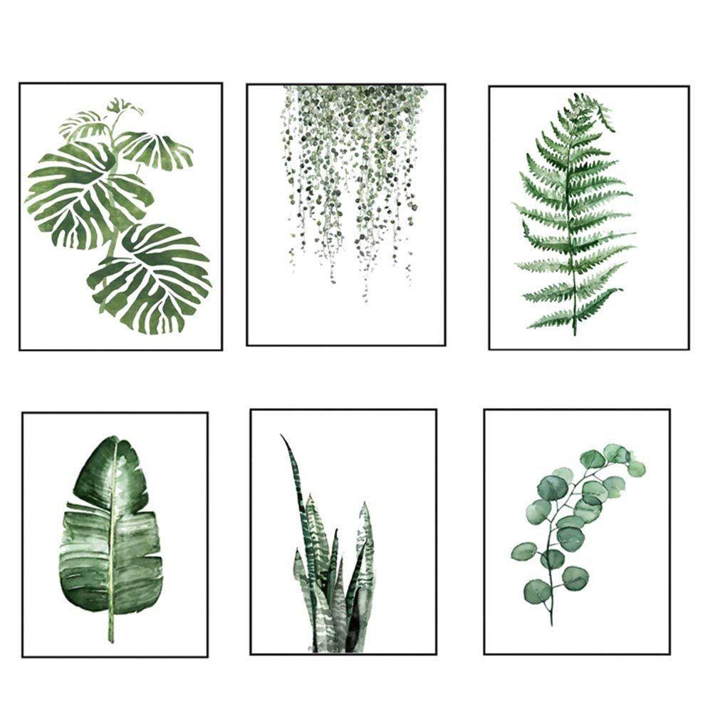 Moderne Aquarelle Feuille Tropicale Affiches Toile Plante Verte