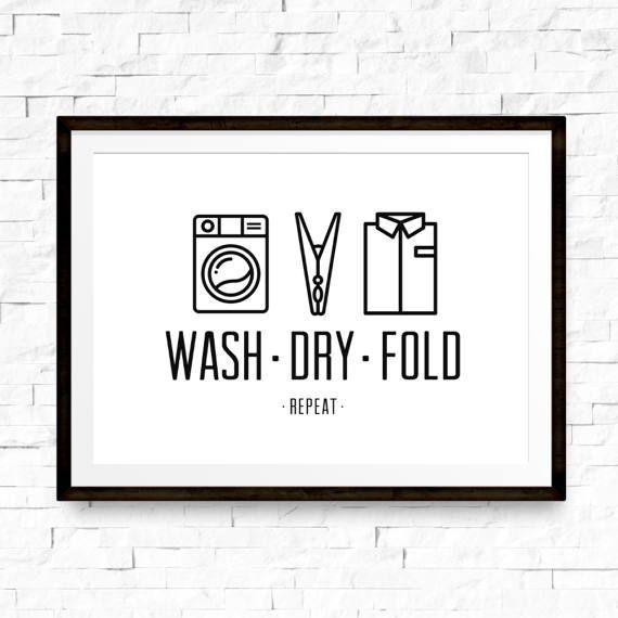 Photo of Wash Dry Fold, Waschküche Dekor, Waschküche, druckbares Poster, Wäscherinnerung, Minimal …