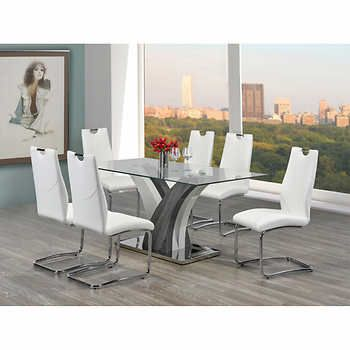 Sierra White 7 Pc Dining Set 7 Piece Dining Set Contemporary Dining Sets Dining Room Sets