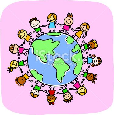 different people holding hands around the world Clipart