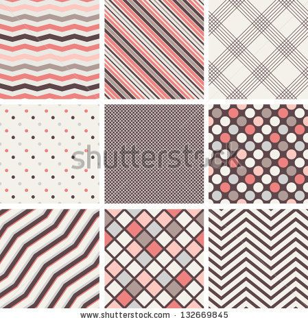 Set of seamless patterns Polka dots, stripes, zigzag, cells and