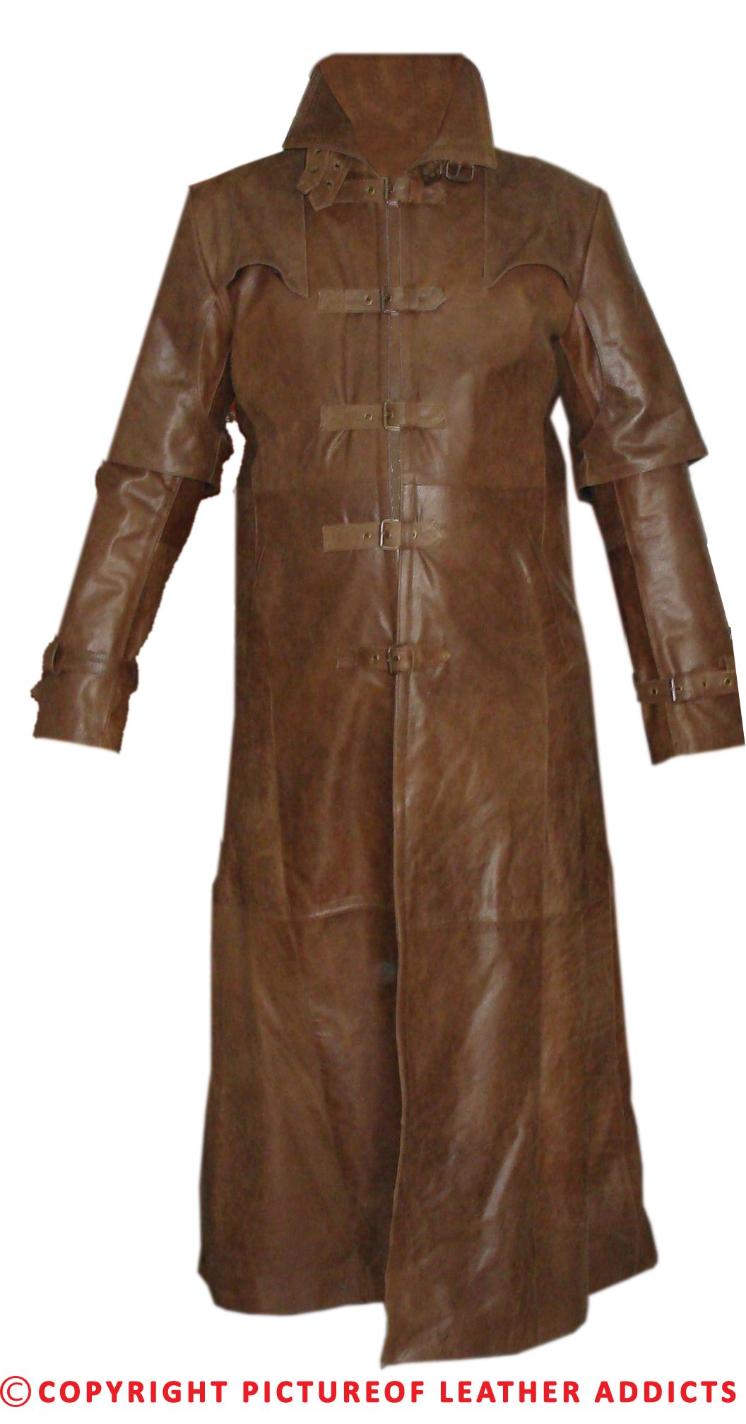 Mens Brown Skipper Leather Goth/Matrix Trench Coat