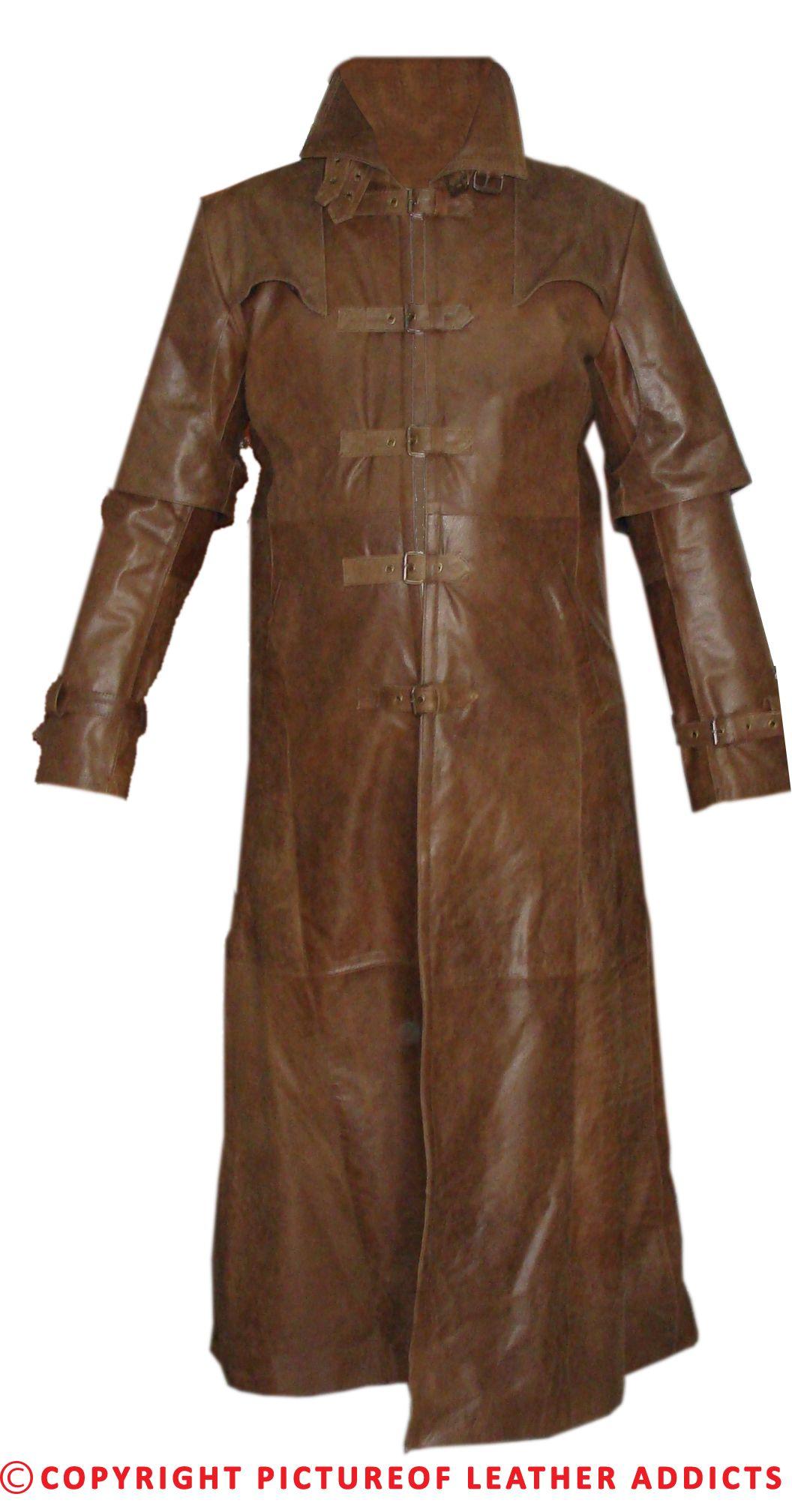 Mens Brown Skipper Leather Goth/Matrix Trench Coat