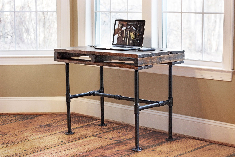 Rustic industrial pallet pipe desk reviveries rooms for Plumbing pipe desk plans