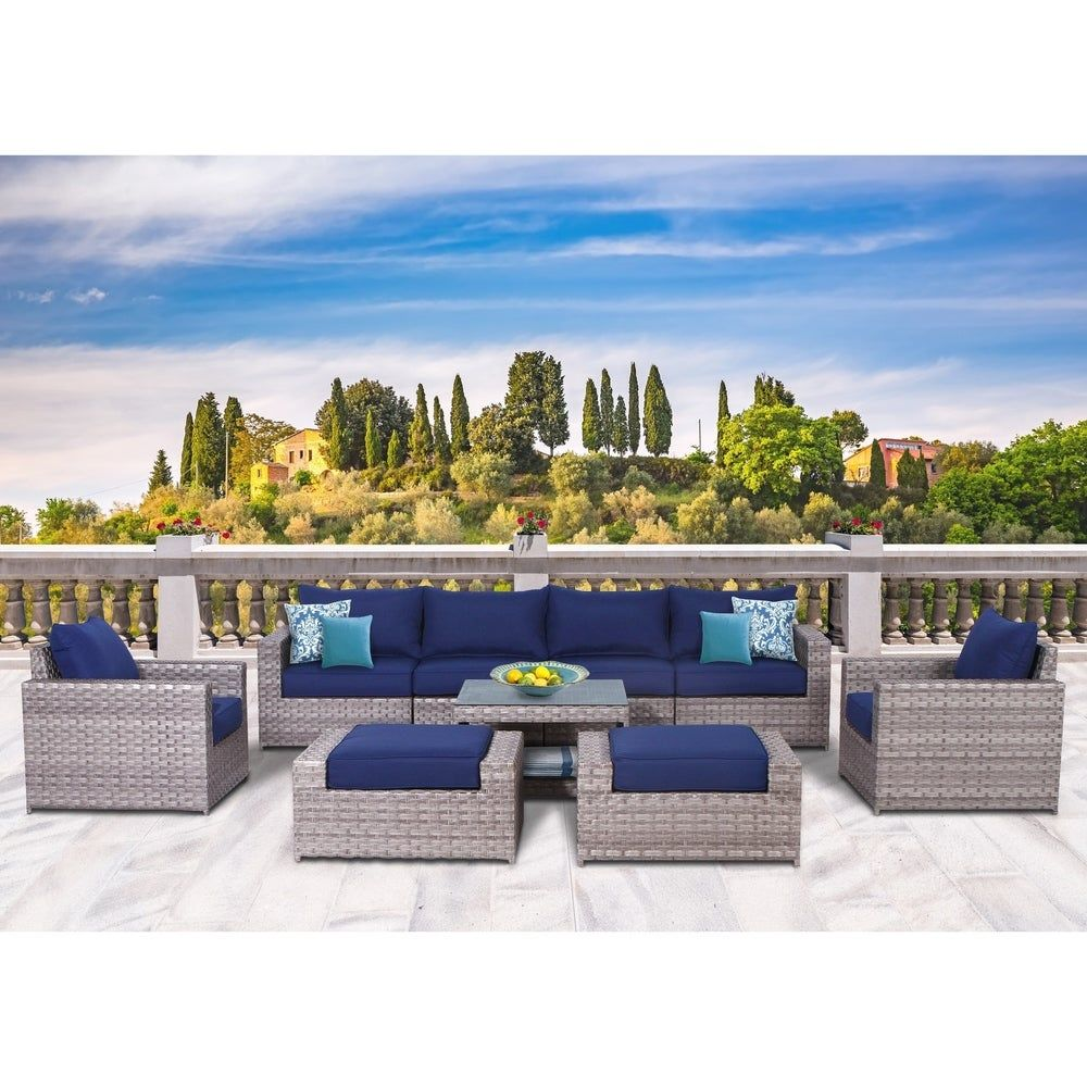 Kensington 9 Piece Olefin Conversation Set (Blue/Grey), Sunhaven(Aluminum), Outdoor Seating