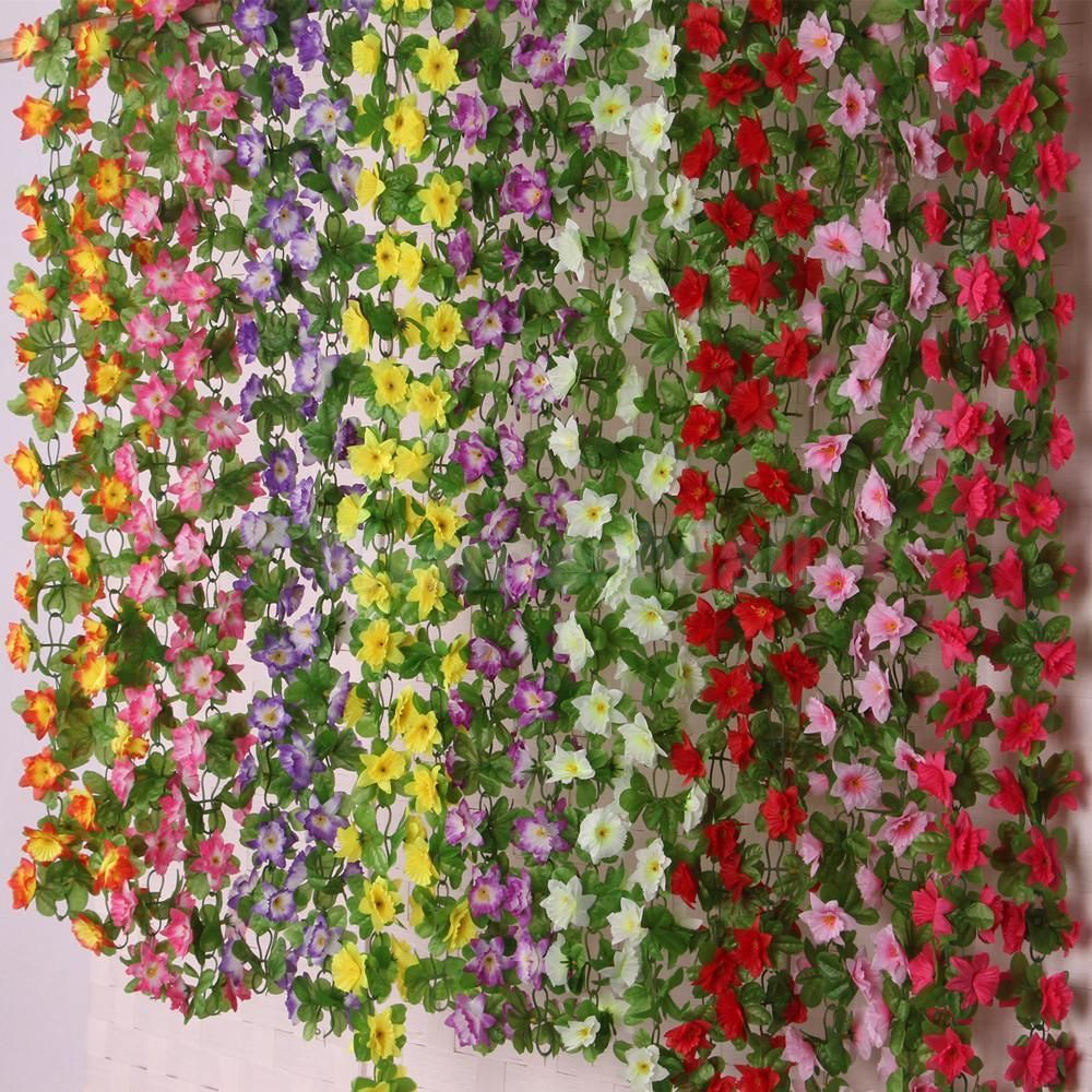 2X Artificial Fake Silk Daffodil Flower Ivy Vine Hanging