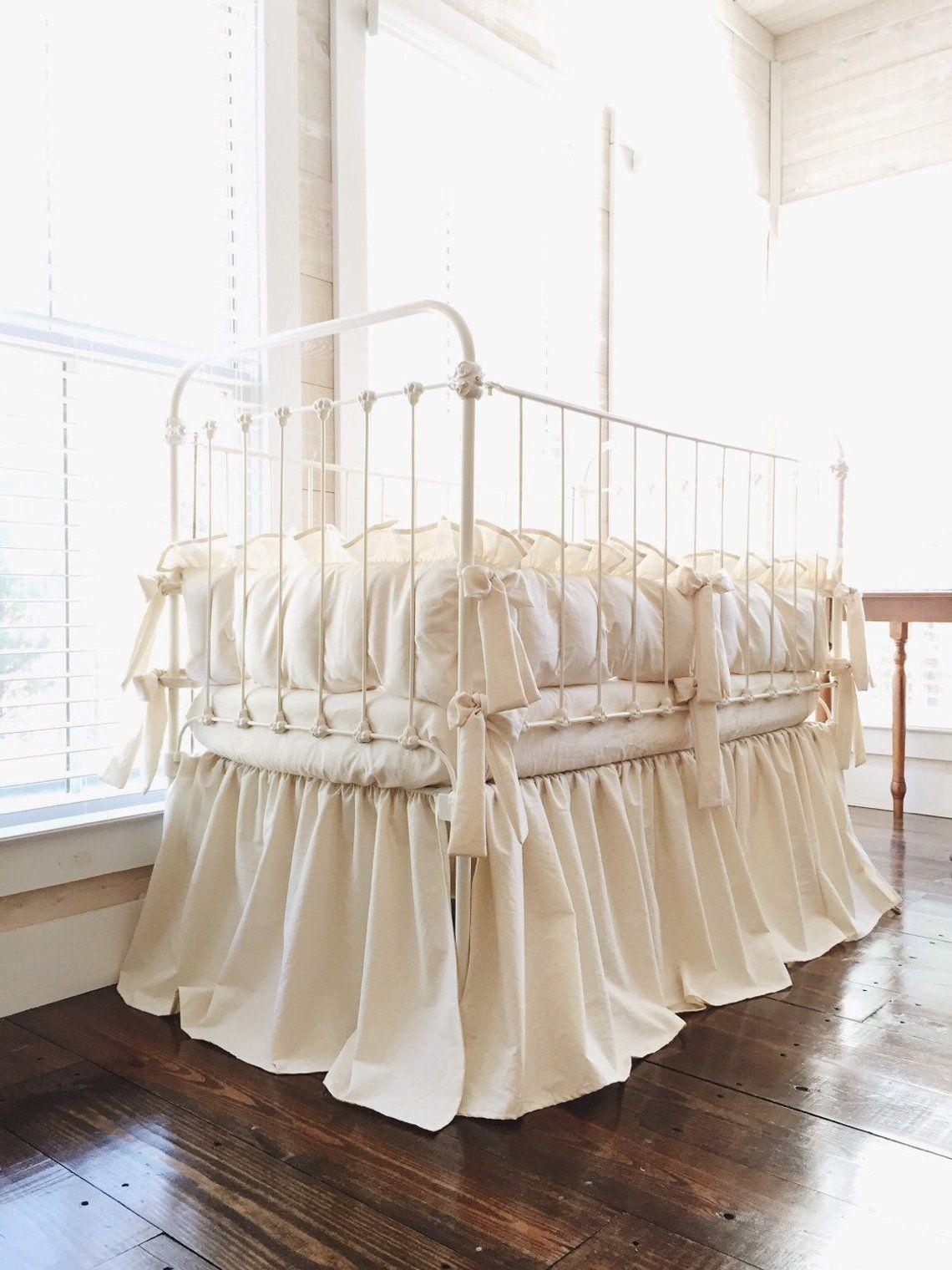 Natural Farmhouse Crib Bedding Set Neutral Baby Bedding