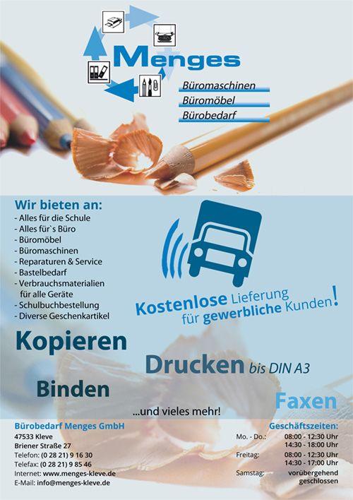 Burobedarf Menges Din A5 Flyer Realisierte Projekte Pinterest