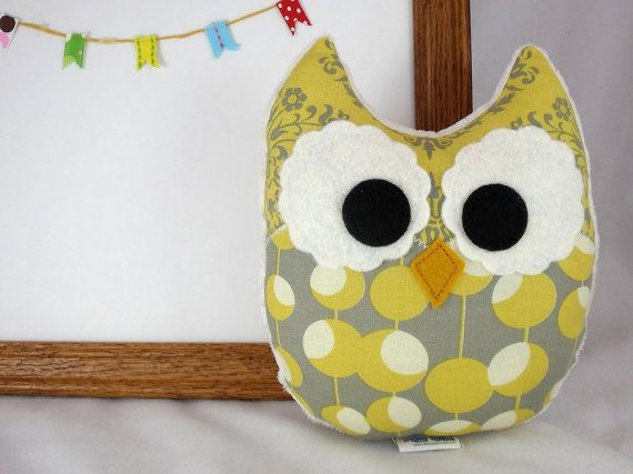 Owl Plush Mini Pillow Toy Minky Yellow Ivory by LittleSidekick, $14.00
