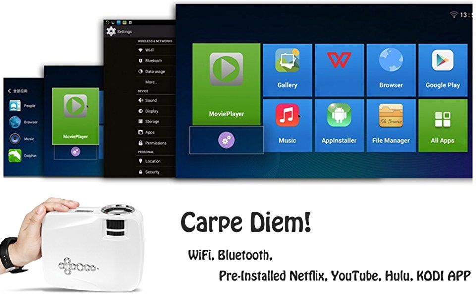 Android WiFi Bluetooth Projector (Warranty Included), ERISAN